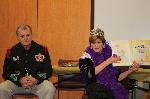 RCF King Stanley Haynes and Queen Katherine Freeman bring Mardi Gras to the school.