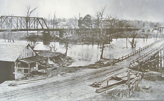 Logan's Ferry site at the Plank bridge across the Sabine River